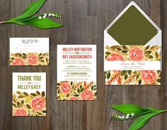 Watercolor Flower Wedding Suite  by aticnomar on @creativemarket