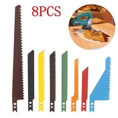 8pcs Jigsaw Blades Sabre Scroll Assortment Set Wood Metal Steel Drywall Blades