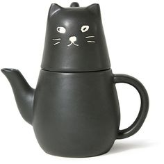 Black Cat Tea Pot (305 DKK) ❤ liked on Polyvore featuring home, kitchen & dining, teapots, cat teapot, tea pot, tea-pot, black teapot and tea set