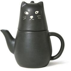Black Cat Tea Pot (142.010 COP) ❤ liked on Polyvore featuring home, kitchen & dining, teapots, black tea set, tea set, black cat teapot, cat teapot and tea pot