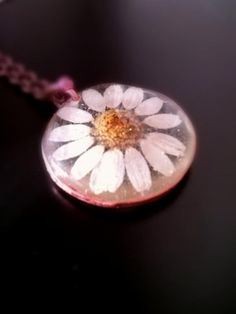 Real camomile flower resin pendant / Necklace resin  by ArtJewerly, $19.00