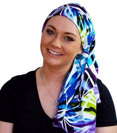 Carlee Pre-Tied Head Scarf, Women's Cancer Headwear, Chemo Scarf, Alopecia Hat, Head Wrap, Head Cover for Hair Loss - Purple, Blue Tropics