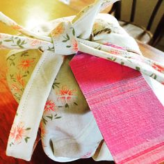apron gift wrap for cake mix and ramekin.  Gift, wrap and ribbons in one www.facebook.com/GiftClubApp