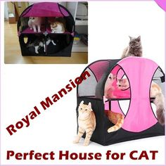 NEW CAT KITTEN Pet Play Condo BED HOT PINK CAT HOUSE ROYAL MANSION Cat TENT - US $67.74