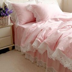 DIAIDI Home Textile,Pink Bedding,Princess Lace Ruffle Bedding Set,Twin Queen King,4Pcs Bed Sets (5ft bed) by DIAIDI, http://www.amazon.com/dp/B00D4P3UTG/ref=cm_sw_r_pi_dp_tkBtsb0XS7JBC