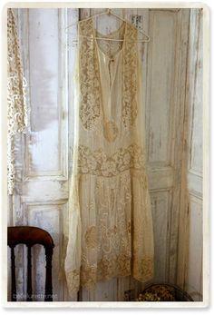1920年アンティークレースワンピース - 【Belle Lurette】ヨーロッパ フランス アンティークレース リネン服の通販