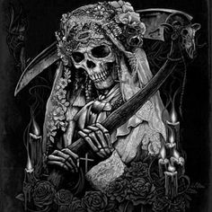 Female Reaper, part 1 Grim Reaper Art, Grim Reaper Tattoo, Female Grim Reaper, Arte Horror, Horror Art, Dark Art Drawings, Tattoo Drawings, Dark Fantasy Art, Skull Tattoos
