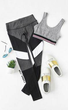 Color Block Mesh Insert Leggings Style : Casual Pattern Type : Colorblock Color : Multicolor Size Available : XS,S,M,L Sporty Outfits, Athletic Outfits, Athletic Wear, Sport Fashion, Fitness Fashion, Fitness Wear, Mesh Insert Leggings, Pineapple Clothes, Workout Gear