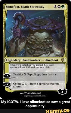 My ICOTW. I love slimefoot so saw a great oppununity. - My ICOTW. I love slimefoot so saw a great oppurtunity. – popular memes on the site iFunny.co #guyfieri #celebrities #mtg #magic #magicthegathering #wotc #wizardsofthecoast #card #cards #cardgame #cardgames #discuss #discussion #theme #mechanic #spicy #fun #funny #icotw #flavor #flavortown #slimefoot #meme Magic The Gathering Cards, Guy Fieri, Wizards Of The Coast, Fun Funny, Man Humor, Mtg, Popular Memes, Card Games, Fun Facts