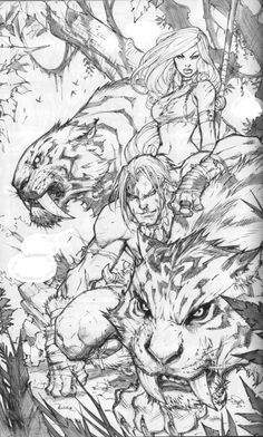 Shanna and Ka-Zar by Joe Madureira (Inks Tony Kordos) Comic Book Artists, Comic Book Characters, Comic Artist, Comic Books Art, Joe Madureira, Arte Obscura, Comic Styles, White Art, Larp