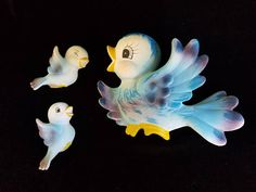 Vintage Japanese Chalkware Bluebirds Carnival or Wall Plaques