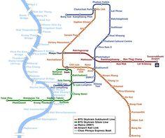 How to get around in Bangkok - BTS, MRT, Chao Phraya Boat Map, Thailand