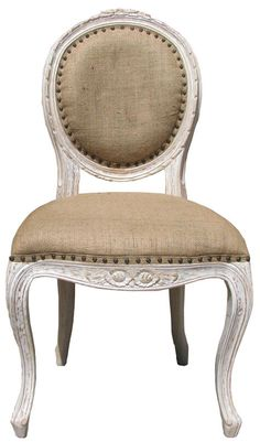 Another one of my favorite kinds of chairs...White washed French chair w/ burlap upholstery