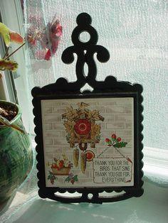 Vintage Enesco Cuckoo Clock Trivet Cast Iron Tile Japan Thank you for the birds  Seller florasgarden on ebay
