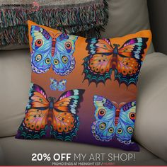 Discover «5 butterflies», Exclusive Edition Throw Pillow by Tatyana Binovska - From $29.5 - Curioos