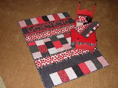 this custom crib quilt and baby doll quilt and pillow were made for Genevieve