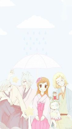 "Kamisama Hajimemashita - I love how while Tomoe and Mizuki are fighting over who gets to sit next to Nanami, Nanami and Mikage are just like: ""happy, happy family photo! Tomoe, Kamisama Kiss, Anime Love, All Anime, Manga Anime, Anime Art, Noragami, Ghibli, Happy Family Photos"