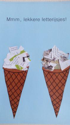scheurtechniek, letters, ijsjes