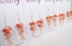 Peach and Coral Chandelier Bridesmaid Earrings, tangerine, tangelo | bonitaj - Jewelry on ArtFire