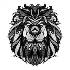 I love lions, and love the style of this. Could be done really well in grayscale or in color.