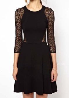 Round Neck Lace Hollow Silm Dress  Was: 25.83$ Now: 13.33$