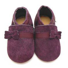 Sayoyo Baby Purple Bow Soft Sole Leather Infant Toddler Prewalker Shoes (6-12 months, Purple)