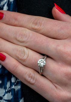 Vintage Filigree Engagement Ring 1.66ct K/VS2 GIA Sku EJ17900
