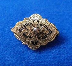 Antique Brooch, Victorian, Taille dEpergne, Gold Plated, Seed Pearl, ca 1900-1910 NT-1188