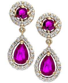 Ruby (1-1/3 ct. t.w.) and Diamond (3/8 ct. t.w.) Drop Earrings in 14k Gold