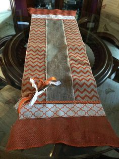 The orange chevron burlap runner will add just the right touch to your table and goes with Halloween and Thanksgiving holidays. Burlap orange and