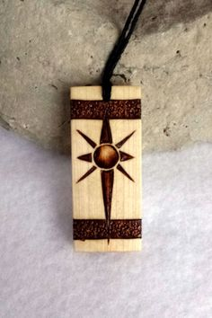 Sun Pendant made for Men Wood Star Necklace by me at SepiaTree on Etsy,