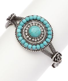 Loving this Turquoise & Silver Antiqued Beads Bracelet on #zulily! #zulilyfinds