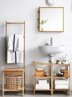 Small bathroom ideas - space-saving bathroom furniture and many clever solutions - Ikea DIY Small Bathroom Furniture, Small Bathroom Storage, Bathroom Shelves, Bathroom Organization, Organization Ideas, Bathroom Vanities, Bathroom Chair, Small Storage, Bathroom Rack