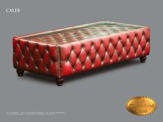 Chesterfield Couchtisch</br>Caleb (ST 110x110) Antik Rot