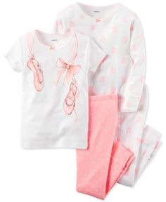 Soft colors and pretty ballet-inspired graphics add charm to the tops and pull-on pants in this four-piece Carter's pajamas set for baby girl. | Cotton | Machine washable | Imported | Graphic top: pic
