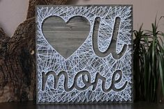 """String art Love U More Customizable Wall hanging Wooden decoration 15,6"""" x15,6""""-white"""