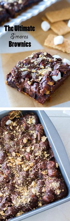 This rich and decadent s'mores brownie recipe is the classic campfire food in bar form! It's filled with rich chocolate and gooey marshmallows, and sits on top of a buttery graham cracker crust!