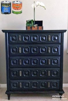 Vintage/Old/Loved, https://www.facebook.com/vintage.old.loved?fref=ts, transformed this piece with General Finishes Lamp Black Milk Paint and Java Gel Stain. You can find your favorite GF products at Woodcraft, Rockler Woodworking stores or Wood Essence in Canada. You can also use your zip code to find a retailer near you at http://generalfinishes.com/where-buy#.UvASj1M3mIY.  #generalfinishes #gfmilkpaint #javagel