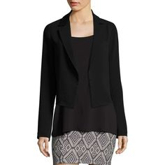 Bailey 44 Khaleej Open-Front Blazer ($298) ❤ liked on Polyvore featuring outerwear, jackets, blazers, long sleeve blazer, open front jacket, chiffon blazer, open front blazer and blazer jacket