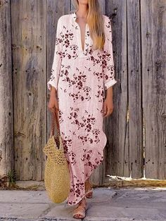 Floral Print Irregular Long Sleeve Maxi Dress For Women is high-quality, see other cheap summer dresses on NewChic. Long Sleeve Maxi, Maxi Dress With Sleeves, Short Sleeve Dresses, Long Dresses, Cheap Summer Dresses, Floral Print Maxi Dress, Straight Dress, Pink, Dress Fashion