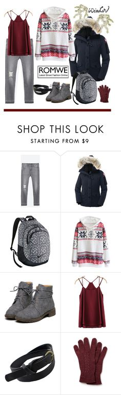 """Hooded Snowflake Print Sweatshirt Set"" by ul-inn ❤ liked on Polyvore featuring Zara, Canada Goose, NIKE and Lacoste"