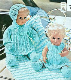 Vintage Knitting Pattern Knit Doll Clothes Outfits Complete Layette For 12 16 Inch Dolls 8 Pieces PD Knitting Dolls Clothes, Crochet Doll Clothes, Knitted Dolls, Doll Clothes Patterns, 12 Inch Doll Clothes, Baby Doll Clothes, Baby Dolls, Baby Knitting Patterns, Baby Patterns