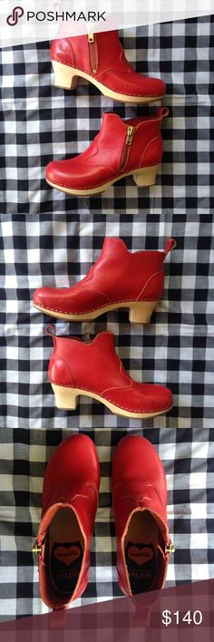 Swedish Hasbeens Victoria bootie boot red 38 clog Excellent condition Victoria bootie wooden clog boot from Swedish Hasbeens. Gold zipper up the side. Lightly worn with a few small scrapes on the red leather uppers and wooden heel. Just came back from the cobbler where they got the royal treatment! New soles, restitched the loops on the back because they seemed loose to me and a fresh polish! Ready to wear with your favorite flowing dress or skinny jeans! No longer available from Nordstrom…