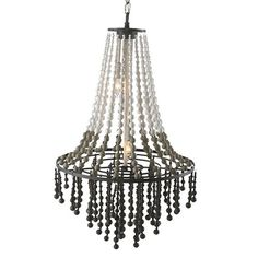 The shade of the Aidan Gray Grand Swag chandelier has cascading wooden beads in white, rustic gray and dark gray finishes that are matte in appearance for added beauty. Beaded Chandelier, Grey Furniture, Lighting Store, Wooden Beads, Pendant Lighting, Swag, Ceiling Lights, Rustic