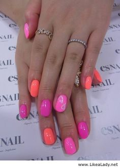 Pink-peach-magenta nails - so ready for summer