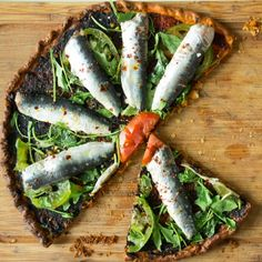 Marinated Sardines and Arugula Tart, fresh and light (can be made without the sardines).