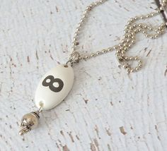 Number 8 Ceramic Tag Necklace with  Bead Charm