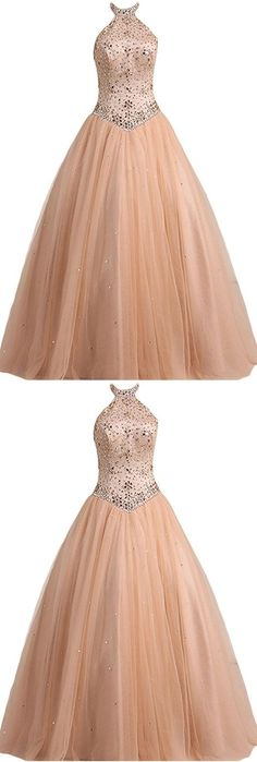 Ball, high neck, tulle, with beads, long prom dress, high quality gown dress, formal dress, wedding dress #halterpromdress #ballgown #beadedpromdress #promgown #highqualityprom #highneckprom #longpromdress #eveningdress