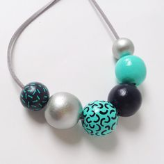 Hand Painted Round and Geometric Wood Bead Necklace Dark Grey,Teal and Silver - Dicso Queen