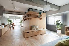 Fujigaoka+M+/+Sinato wood L-section to enreach the apartment.